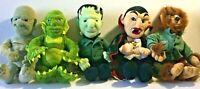 "Set 5 Universal Studios Monsters 1999 Plush Dracula Frankenstein Halloween 9"""