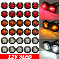 "CAR TRUCK LORRY TRAILER PICKUP 3/4"" LED ROUND BULLET BUTTON SIDE MARKER LIGHTS"