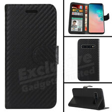 For Samsung S10 S10e S8 Plus Case Magntic Carbon Leather Flip Wallet Phone Cover