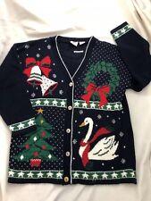 Vintage Nutcracker Womens Medium Cardigan Sweater Teddy Bears Ugly Christmas M
