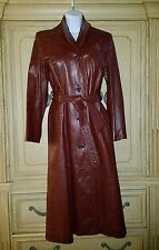 VTG 70's ETIENNE AIGNER BURGANDY RED BELTED LONG LEATHER TRENCH COAT JACKET 8