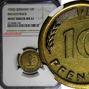 Germany Federal 1950-J 10 Pfennig NGC MINT ERROR MS61 BROADSTRUCK KM# 108 (194)