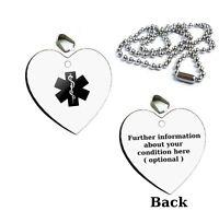Medical Alert Symbol HEART Pendant Necklace Emergency ID Dog Tag, Keyring, Gift
