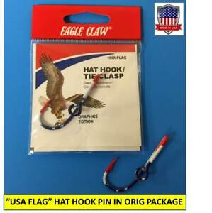 """EAGLE CLAW ORIGINAL """"USA FLAG"""" FISH HOOK HAT PIN/MONEY CLIP in Original Package"""