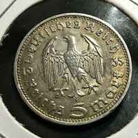 GERMANY 1935-D SILVER 5 MARK NICE COIN