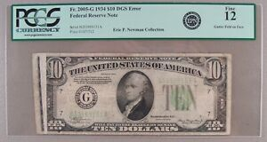 1934 Fr. 2005-G $10 Federal Reserve Note Gutter Fold Error PCGS Currency Fine 12