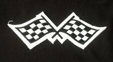 CHEQUERED CHECKERED FLAG RACING GP F1 MOTORSPORTS BADGE IRON SEW ON PATCH