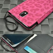 For Samsung Galaxy Note 3 III Leather Wallet Style Pink Leopard Case w/ Strap