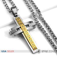 Men's Stainless Steel Punk Heavy Big Large Cool Cross Pendant Braid Necklace P64