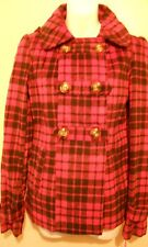 Pink Envelope Junior Wool Blend Hooded Plaid Double Breasted Look Jacket S NWT
