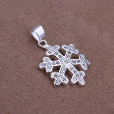 New 925 Sterling Silver Filled Snow Snowflake Pendant Necklace Inlay Zircon 18''
