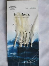 25 Packs White Feathers 6 hook size 2/0 fishing mackerel lures sea pollack cod