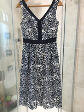 BNWT Fenn Wright Manson Ladies White And Navy Floral Dress Size 8 (RRP £189)