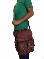 Men's Real Leather Backpack Laptop Bag Large Hiking Travel Camping Carry On