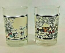 Vintage Arbys Currier and Ives Collector Series Winter SET of 2 Tumbler Glasses
