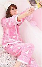 Women Junior Petite Miss Pink Hearts Coral Fleece Winter Pajamas Set (Size M)
