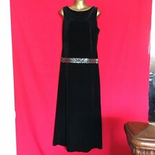 Womens Maxi Dress M 10 12 Black Velvet Sequin Fomal Cocktail Wedding Party F75