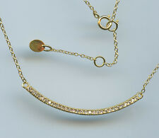 925 GOLD VERMEIL & MICRO PAVE CZ CURVED BAR NECKLACE