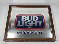 Vintage Bud Light Mirror Sign Anheuser Busch 1980s 801-204 22 x 18 Bar Man Cave