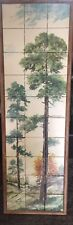Rare Large Vintage Clyde E. Gray 30 Tile Art Painting Trees 1959