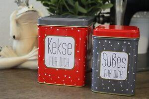 2 tlg. Keksdose Geschenk Dose Süßes Rot Grau Gold Weihnachten Verpacken Deko