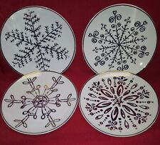 American Atelier Snowflake Canape Plates Gold Design Christmas Set Of 4