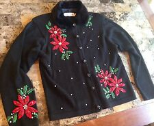 Ugly CHRISTMAS SWEATER SIZE M Pull Over PartyTacky POINSETTIA