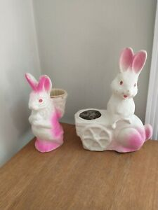 2 Vintage Paper Mache Easter Bunny Rabbit Candy Container White 2 Neon Pink 50's