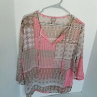 Chico's size 2 pink/coral/tan sheer 3/4 sleeve front tie pullover blouse