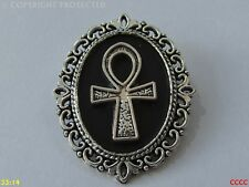 steampunk brooch badge pin silver crux ansata ankh Egyptian symbol of life