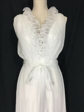 Jack Bryan California Vintage Chiffon Dress White Maxi Evening Lettuce Hem Sz S