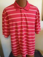 Oxford Golf XL CoolMax Red w Orange&White Stripes Short Sleeve Polo