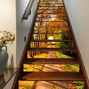 3D Autumn Forest Path Self-adhesive Stair Riser Decal Staircase Sticker Decor