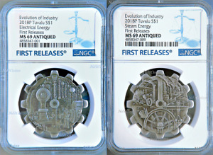 2018 P Evolution of Industry ANTIQUED Gear-Shaped 1oz Silver 2-COIN-SET NGC MS69
