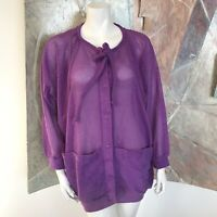 Vintage Gertrude Davenport Purple Mesh Pocketed Terrycloth Blouse Top Size Large