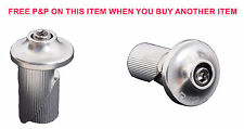 Pair RSP Bike Handlebar Alloy Bar End Plugs Caps Savers Silver Raleigh 16-19mm