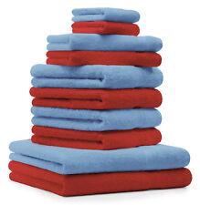 Betz lot de 10 serviettes Classic: rouge & bleu clair, 100% coton