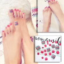 24Pcs Ethnic Style Full Cover False Thumb Toe Fake Full False Nail Nails Summer