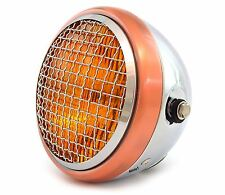 "6.5"" Side Mount Halogen Motorcycle Headlight w/ Grill - Chrome Bronze Amber"