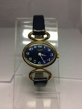 Women's Jean Perret Geneve Watch Swiss Made Gold Tone Case Blue Face Navy Band