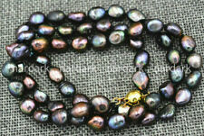 Rare! Natural 8-9mm Black Akoya Cultured Pearl Baroque Necklaces 25-36''