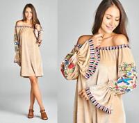 Champagne Velvet Bird Floral Embroider Off The Shoulder 284 mv Dress 1XL 2XL 3XL