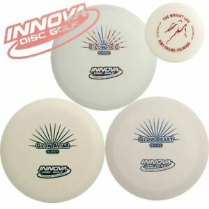 Innova Glow Disc Golf Gift Set - 3 Discs Pack (Glows in Dark) + Mini Marker Disc