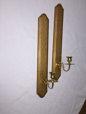 Homco Pair Of Wood Sconces Gold Design Brass Arms Home Interior