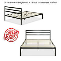 """Platform Bed Frame with Headboard Black Twin Full Queen King Size 14"""" Furniture"""