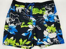 "Nike Men's Swim Trunks Size XL Black Blue Floral Mesh Lined 7"" Inseam Pre-Owned"