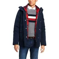 Tommy Hilfiger Mens XL Blue Hooded Plaid Down Puffer Coat