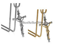 Mens Stainless Steel Jesus Christ on INRI Cross Crucifix Pendant Chain Necklace
