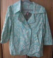 2-way Animal 'Fresh' Mint Green & Cream Floral Print Cropped Sleeve Jacket UK 12