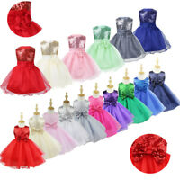 Kids Girls Sequin Party Pageant Communion Formal Gown Wedding Flower Girl Dress